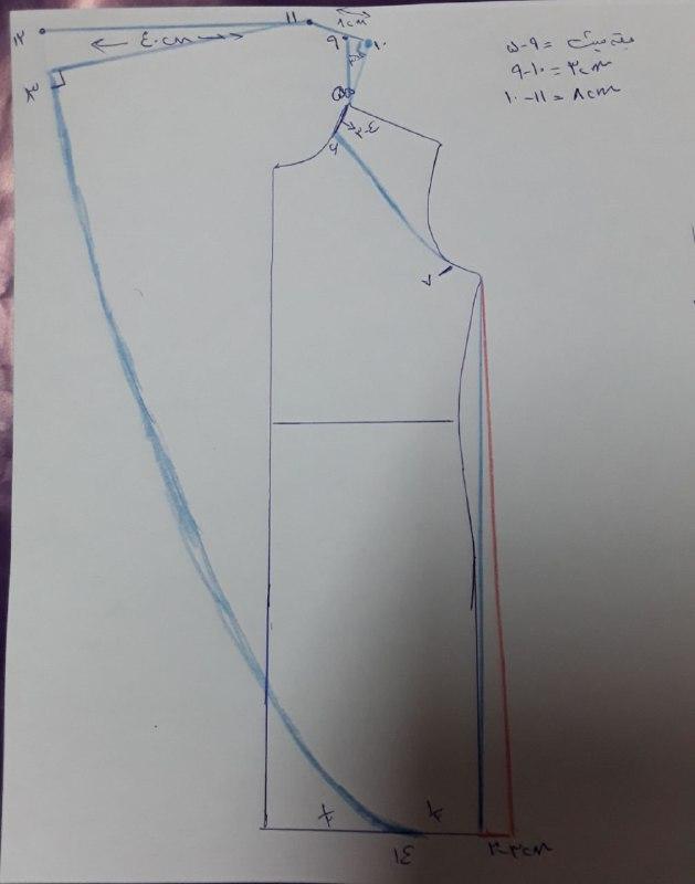 آموزش دوخت مانتو یقه آبشاری آستین رگلان