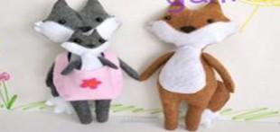 الگوی دوخت عروسک خانواده ی روباه با نمد